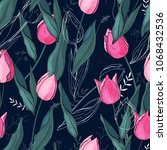 tulips. hand drawn style....   Shutterstock .eps vector #1068432536