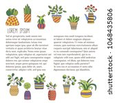 flower pots doodle icons with... | Shutterstock .eps vector #1068435806
