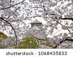 osaka castle with cherry blossom | Shutterstock . vector #1068435833