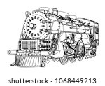 silhouette retro steam engine... | Shutterstock .eps vector #1068449213