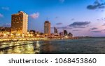 night tel aviv city beach... | Shutterstock . vector #1068453860