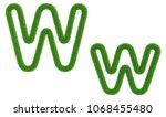 letter w of green fresh grass... | Shutterstock . vector #1068455480