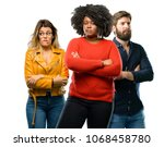 group of three young men and... | Shutterstock . vector #1068458780