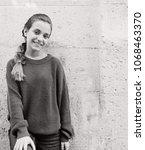black and white portrait of...   Shutterstock . vector #1068463370