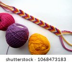 bracelet woven thread colorful... | Shutterstock . vector #1068473183