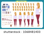 young woman  casual clothes.... | Shutterstock .eps vector #1068481403
