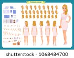 pretty female office employee... | Shutterstock .eps vector #1068484700