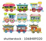 multi colored trains with... | Shutterstock . vector #1068489320