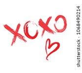 xoxo red heart vector card | Shutterstock .eps vector #1068490214