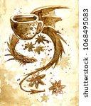 Dragon Drawn By Coffee
