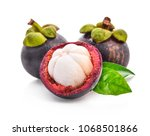 fresh ripe mangosteen  isolated ... | Shutterstock . vector #1068501866