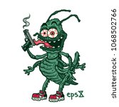 crazy smiling comic style bug... | Shutterstock .eps vector #1068502766