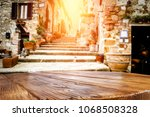 desk of free space and tuscany... | Shutterstock . vector #1068508328