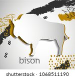 paper cut bison silhouette ... | Shutterstock .eps vector #1068511190
