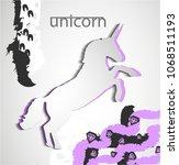 unicorn paper cut silhouette ... | Shutterstock .eps vector #1068511193