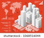 vector isometric urban... | Shutterstock .eps vector #1068516044