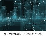 abstract 3d city with dots and... | Shutterstock . vector #1068519860