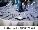 decorated table on a gala... | Shutterstock . vector #1068521570