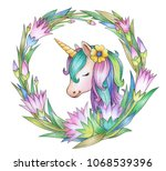 unicorn in floral frame ... | Shutterstock . vector #1068539396