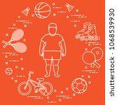 fat boy  badminton rackets and... | Shutterstock .eps vector #1068539930