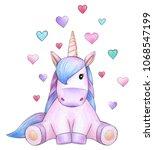 cute sitting unicorn cartoon... | Shutterstock . vector #1068547199