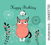 greeting card with a cat | Shutterstock .eps vector #106855730