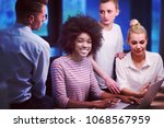 multiethnic startup business... | Shutterstock . vector #1068567959
