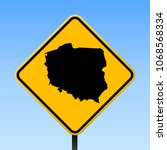 poland map road sign. square... | Shutterstock .eps vector #1068568334