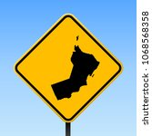 oman map road sign. square... | Shutterstock .eps vector #1068568358