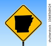 arkansas map road sign. square... | Shutterstock .eps vector #1068568424