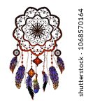 colored bohemian vector mandala ... | Shutterstock .eps vector #1068570164