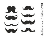 set of mustaches black... | Shutterstock .eps vector #1068577910