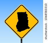 ghana map road sign. square... | Shutterstock .eps vector #1068583310