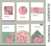 set with six floral romantic...   Shutterstock .eps vector #1068584918