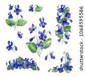 watercolor illustration. set of ... | Shutterstock . vector #1068595586
