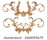 gold ornament on a white... | Shutterstock . vector #1068595679