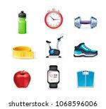 set of fitness elements on... | Shutterstock .eps vector #1068596006