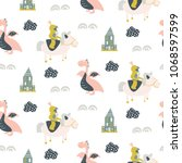 seamless vector pattern with... | Shutterstock .eps vector #1068597599