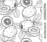 tropical fruit pattern... | Shutterstock .eps vector #1068602900