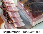 smoked bacon. raw bacon meat. | Shutterstock . vector #1068604280