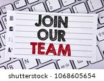 Small photo of Text sign showing Join Our Team. Conceptual photo Get over unemployment joining better career workforce written Notebook paper placed the Laptop.