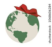 planet earth with red bow  logo ...   Shutterstock .eps vector #1068606284
