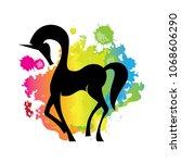 rainbow splash and unicorn   Shutterstock .eps vector #1068606290
