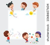 vector illustrations of kids... | Shutterstock .eps vector #1068607604