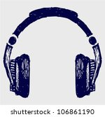 headphones sketch | Shutterstock .eps vector #106861190