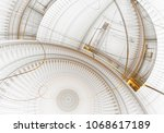 old watch mechanism  cog wheels ... | Shutterstock . vector #1068617189