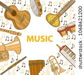 musical instruments composition.... | Shutterstock .eps vector #1068621200