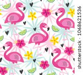 seamless pattern with pink... | Shutterstock .eps vector #1068621536