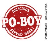 delicious po boy sign or stamp... | Shutterstock .eps vector #1068621956