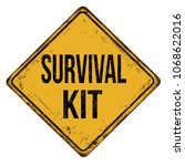 survival kit vintage rusty... | Shutterstock .eps vector #1068622016